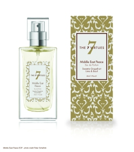 Middle East Peace Eau de Parfum Lime, grapefruit, and basil meet the dry elegance of bamboo and cedar.