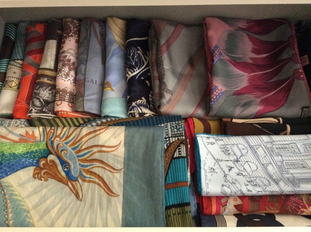 My scarf drawer with the folded Mythiques Phoenix in Bleu Lagon on the left.